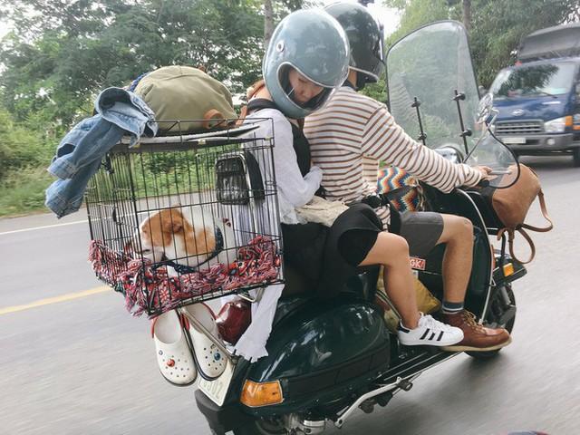 Chàng trai Sài Gòn chế lồng trên xe Vespa cho thú cưng đi phượt đã đời - Ảnh 1.