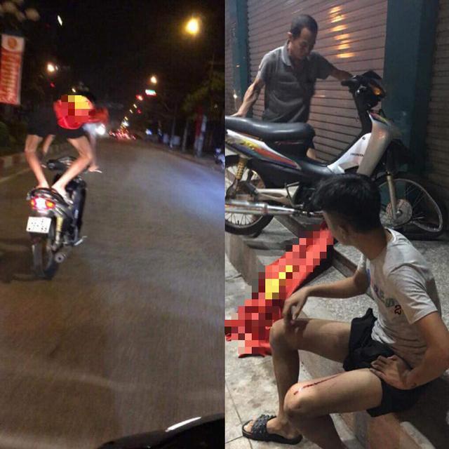 Clip: Thanh niên chở bạn gái bốc đầu xe máy mừng đội nhà thắng tứ kết ASIAD rồi ngã sấp mặt giữa đường - Ảnh 2.