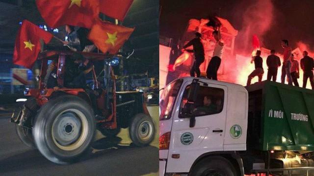 """CĐV Việt Nam siêu ngầu, mang cả xe lu, xe kéo """"đi bão"""" sau chiến thắng lịch sử"""