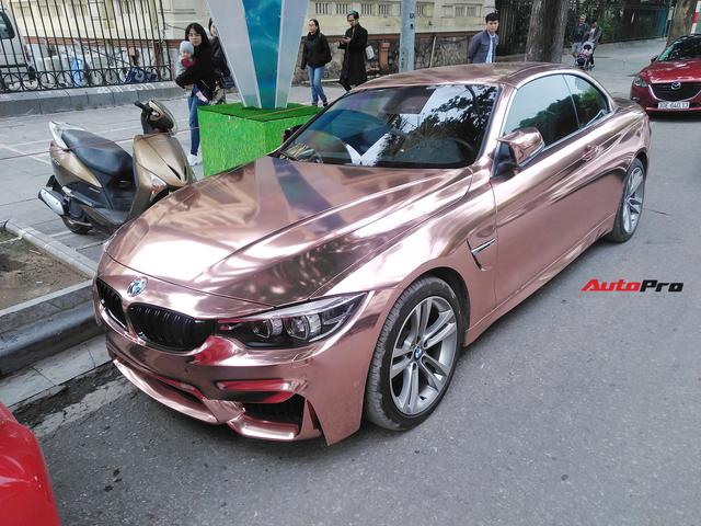 BMW 4-Series mui trần diện bộ cánh chrome vàng hồng đón Tết tại Hà Nội - Ảnh 1.
