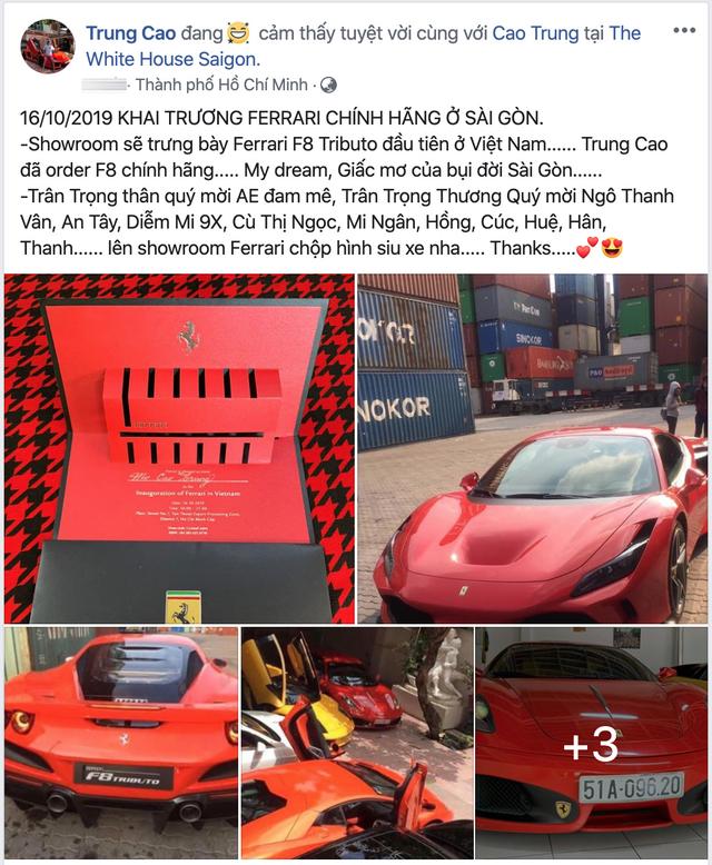 Đại gia ngành y tế tiết lộ bổ sung Ferrari F8 Tributo chính hãng vào bộ sưu tập siêu xe đình đám của mình - Ảnh 1.