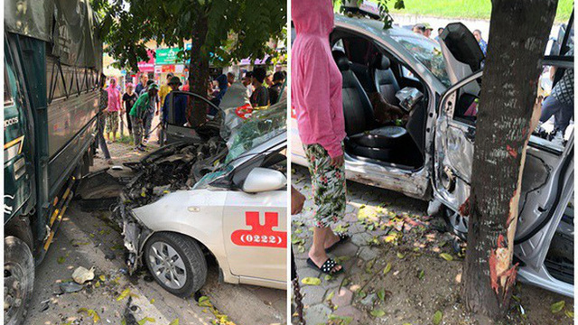Tai nạn hy hữu: Xe tải lao từ trên đê xuống, đâm nát taxi đỗ bên đường