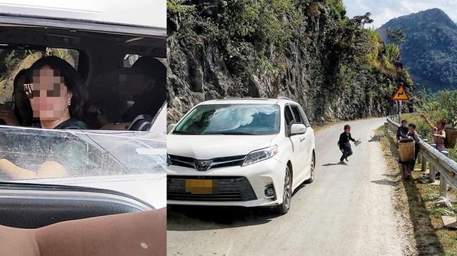 Người phụ nữ ngồi trong chiếc Toyota Sienna ném kẹo cho nhóm trẻ vùng cao khiến dân mạng bức xúc
