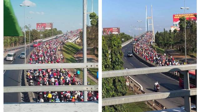 Khoảnh khắc được chia sẻ nhiều nhất trên MXH: Hàng trăm phương tiện ùn ùn quay trở về Tp. Hồ Chí Minh