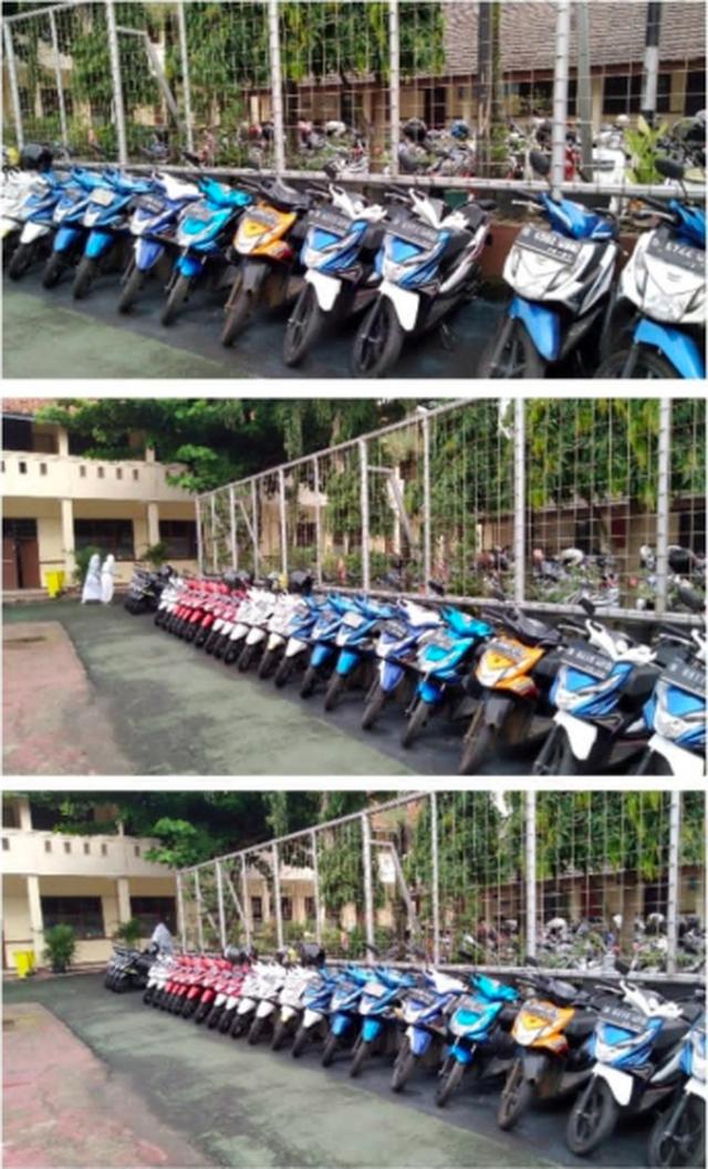 Bảo vệ trường nhà người ta: Ngày nào cũng xếp xe của học sinh theo hãng, màu sắc một cách ngăn nắp đáng kinh ngạc - Ảnh 1.