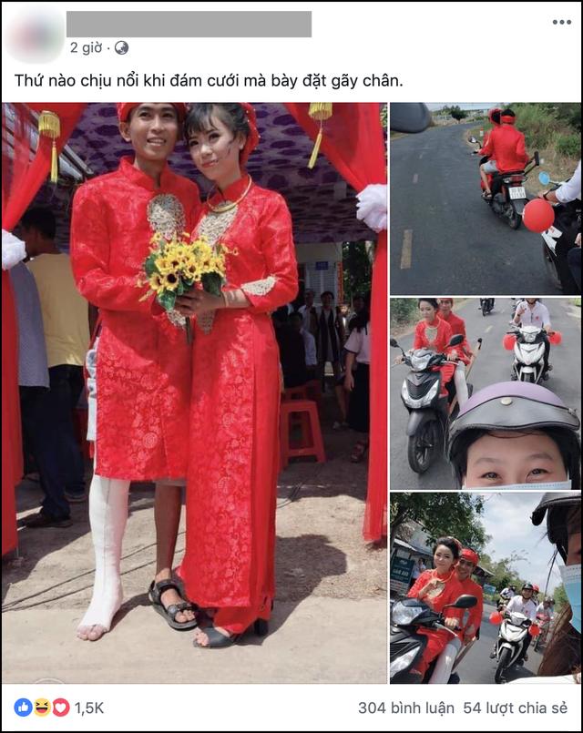 Hình ảnh chú rể bó bột chân, được cô dâu rước bằng xe máy khiến nhiều người vừa thương lại không nhịn được cười - Ảnh 1.