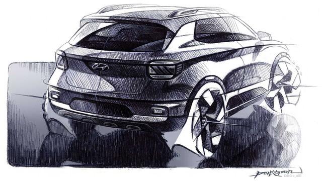 Hyundai Venue - Đàn em Kona lộ diện ảnh phác thảo mới: Khó tin khác biệt nội/ngoại thất - Ảnh 1.