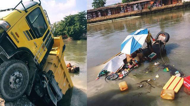 Hiện trường vụ tai nạn hy hữu: Xe ben lao xuống sông, đâm chìm ghe