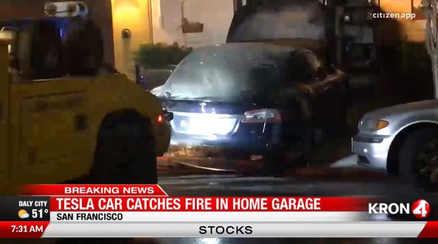 Chiếc Tesla Model S bỗng dưng bốc cháy trong nhà xe - Ảnh 1.