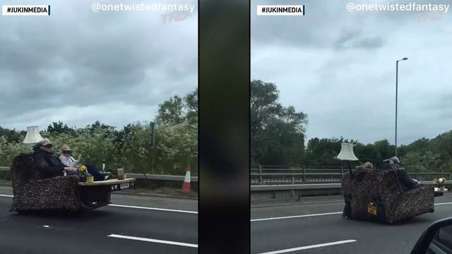 Hai cụ già lái...ghế sofa chạy 140 km/h trên cao tốc nước Anh