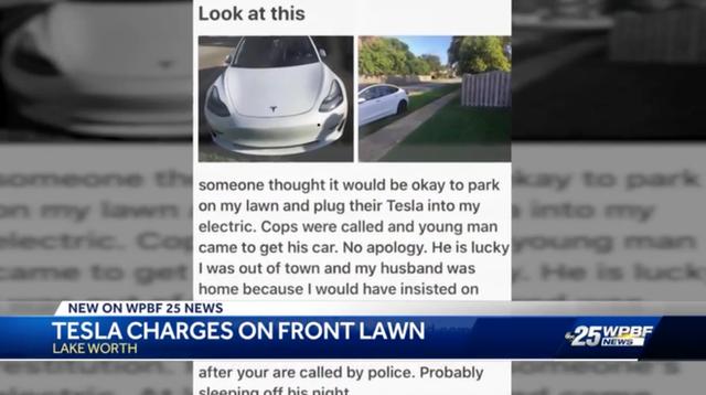 Cặp đôi đậu xe Tesla trên bãi cỏ nhà người lạ, sạc điện ké suốt 12 giờ liên tục - Ảnh 2.