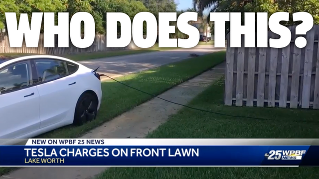 Cặp đôi đậu xe Tesla trên bãi cỏ nhà người lạ, sạc điện ké suốt 12 giờ liên tục - Ảnh 1.