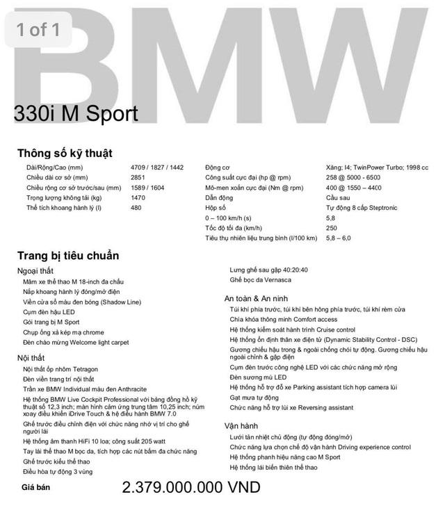 Dân mạng xôn xao BMW 330i M Sport 2020 giá gần 2,4 tỷ đồng tại Việt Nam nhưng không có lẫy chuyển số - Ảnh 5.