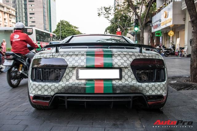 Audi R8 V10 Plus tắc kè hoa nhất Việt Nam tiếp tục thay áo với phong cách thời trang Gucci - Ảnh 3.