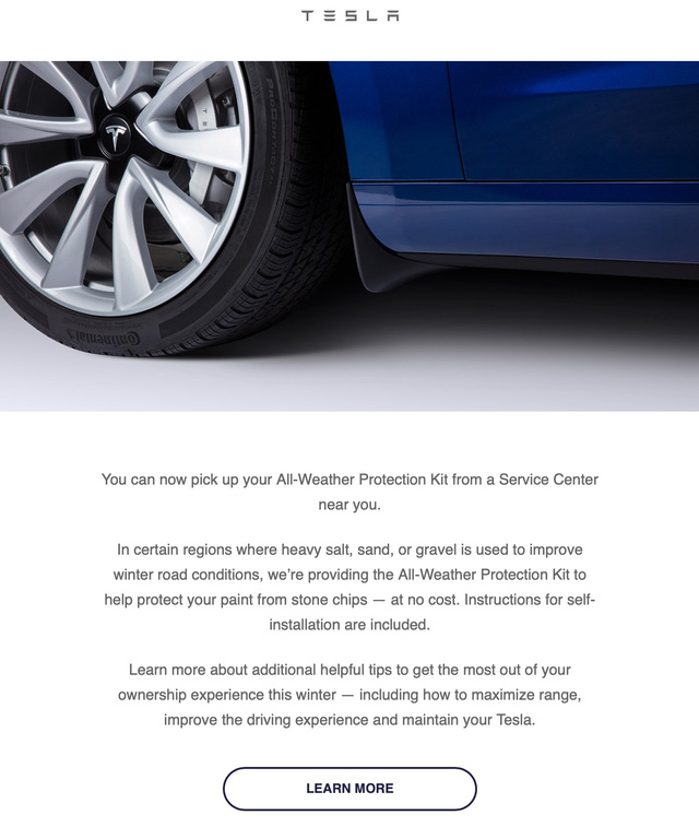 Giống như mẫu xe nào đó thiếu chắn bùn nhưng Tesla gây cười vì cung cấp trang bị này với tên gọi Kit bảo vệ mọi thời tiết - Ảnh 1.