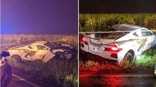 Chuyện hy hữu: Chevrolet Corvette C8 đời mới gặp nạn bị chủ xe bỏ lại, nằm chỏng chơ trên bãi cỏ