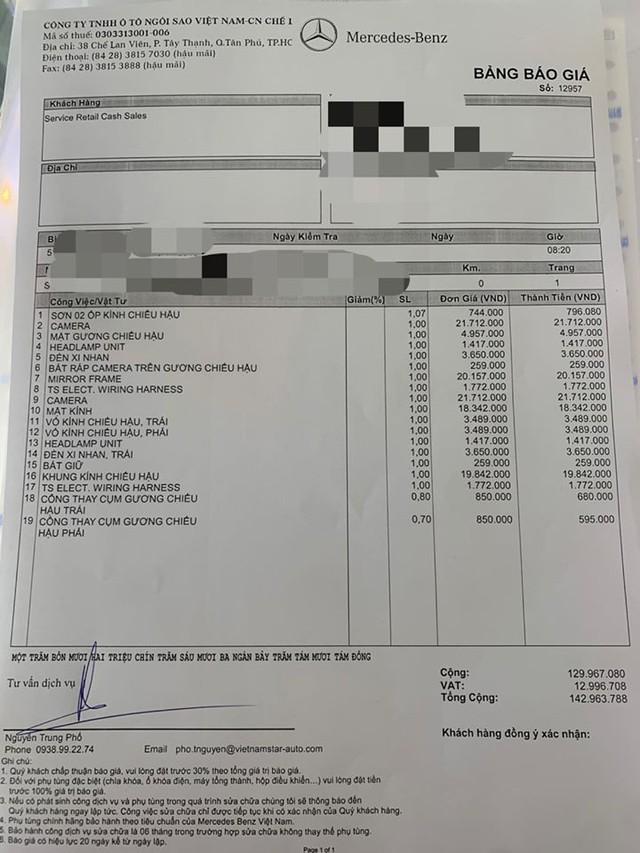 Bị gương tặc hỏi thăm, chủ xe Mercedes-Benz S 450 mất hơn 140 triệu đồng thay đồ chính hãng - Ảnh 1.