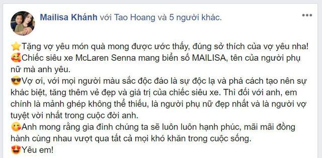 Đại gia Hoàng Kim Khánh khoe McLaren Senna với biển số mang tên vợ độc đáo nhất Việt Nam - Ảnh 1.