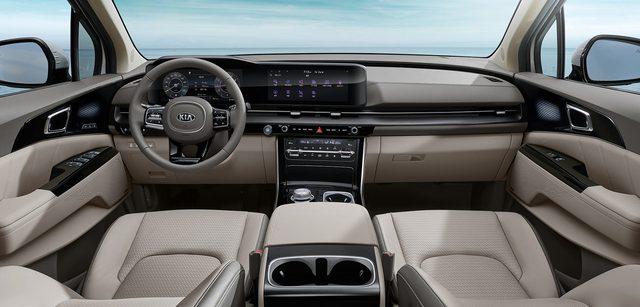Kia Sedona thế hệ mới lần đầu tung ảnh nội thất: Ảnh hưởng từ Mercedes-Benz C-Class? - Ảnh 1.