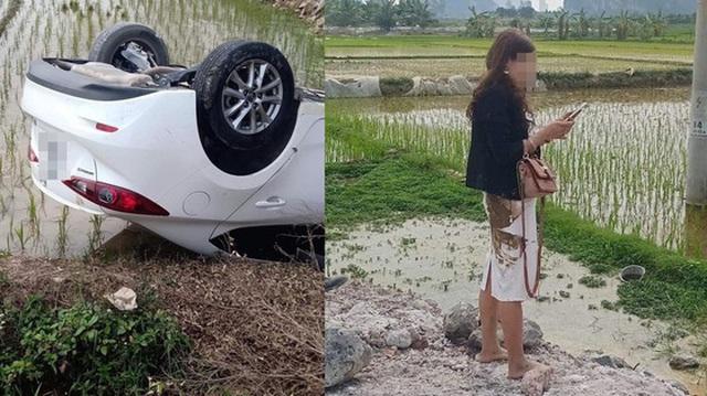 Ô tô Mazda lật ngửa dưới ruộng lúa, nữ tài xế phá cửa trèo ra ngoài