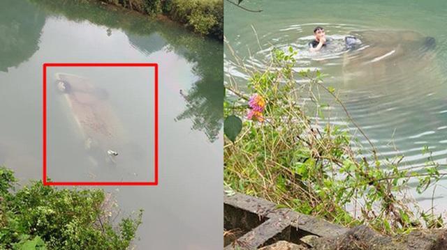Ô tô lật ngửa chìm nghỉm dưới suối, ảnh hiện trường khiến nhiều người lo lắng tình trạng của nữ tài xế