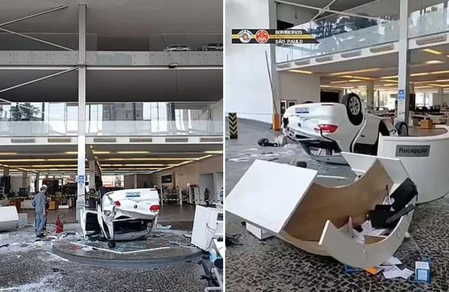 Công nhân vệ sinh ô tô đánh xe về showroom, bất cẩn khiến phương tiện lao từ tầng 2 xuống trúng hai lễ tân, để lại hiện trường kinh hoàng - Ảnh 2.