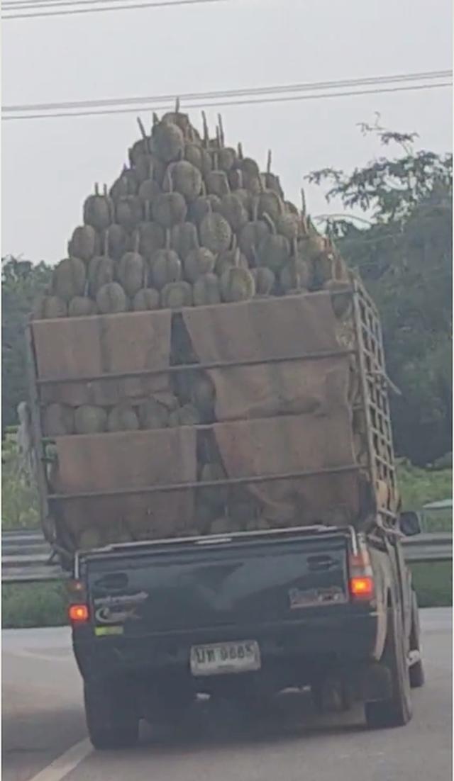 Choáng váng trước chiếc xe chở cả núi sầu riêng ở nước bạn, xem đến cuối clip mà dân mạng ai cũng suýt rớt tim ra ngoài - Ảnh 2.