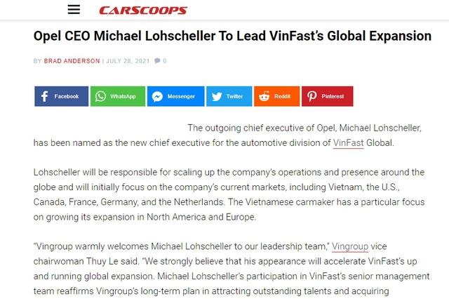 Truyền thông quốc tế: Giám đốc điều hành VinFast toàn cầu từng kéo Opel từ vực thẳm nhưng với VinFast còn nhiều điều phải làm - Ảnh 1.