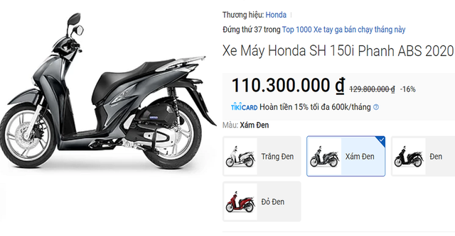 Honda SH tiep tuc giam gia SH Mode va Vision bay tien trieu