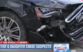 Bố và con gái lái Audi A8 đuổi theo trộm