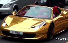 Lóa mắt với siêu xe Ferrari 458 Spider mạ crôm vàng