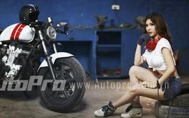 Cô nàng sửa xe tạo dáng gợi cảm bên Honda CB750 độ