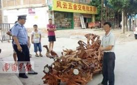 Cảnh sát tịch thu ô tô tự chế bằng gỗ của người dân