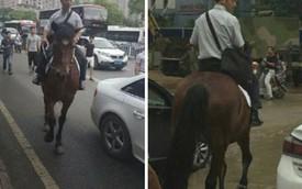 Chán ô tô, người đàn ông cưỡi ngựa đi làm