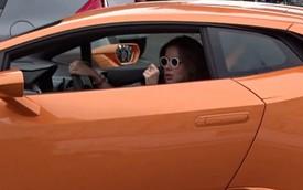 """""""Hot girl"""" lái Lamborghini Huracan """"dễ như ăn kẹo"""" trên phố đông"""
