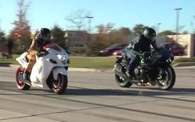 """""""Thần gió"""" Suzuki Hayabusa đánh bại Kawasaki Ninja H2 trên đường đua"""
