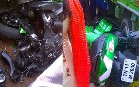 """""""Trẻ trâu"""" lái Kawasaki Ninja ZX-14R đâm vào người đi xe đạp"""