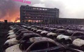 """Thêm hình ảnh """"nghĩa địa"""" ô tô chết cháy tại Thiên Tân"""