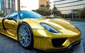 """Ngắm siêu xe hybrid Porsche 918 Spyder mạ """"vàng"""""""