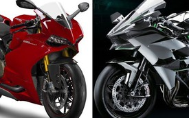 Ducati 1199 Panigale và Kawasaki Ninja H2 - Cuộc đối đầu của những siêu mô tô tiền tỉ