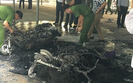 Cháy 5 xe máy trong bãi gửi xe Đại học Sư phạm Hà Nội