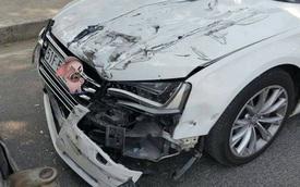 Sài Gòn: Tông vào đuôi xe tải, Audi A8L hư hỏng nặng