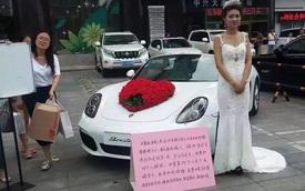 Cô gái kén chồng trước trung tâm thương mại với của hồi môn là xe sang