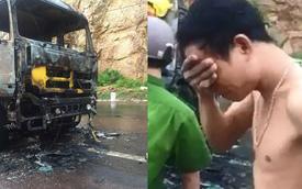 """Xe tải chở hàng bốc cháy, tài xế đứng khóc khi nhìn người dân thi nhau """"hôi của"""""""