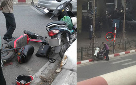 Va chạm với xe đạp điện, người đàn ông đi xe máy rơi từ cầu Chương Dương xuống đất