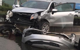 Bị xe tải đâm, ô tô con lật nhiều vòng, 3 người bò ra khỏi xe