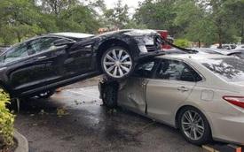 """Tesla Model S """"đè đầu cưỡi cổ"""" Toyota Camry trong bãi đỗ"""