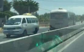 Xe khách chạy ngược chiều mấy cây số trên xa lộ