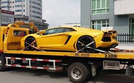 """Lamborghini Aventador màu vàng được vận chuyển ra Hà Nội """"khám bệnh"""""""