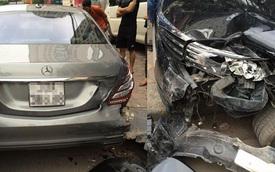 Hà Nội: Toyota Corolla Altis lao lên vỉa hè, húc vỡ đuôi Mercedes-Benz S500